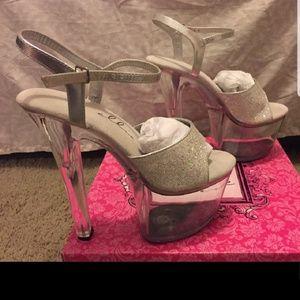 Exotic dancer heels stilettos clear glitter